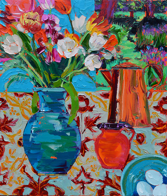 Lucy Doyle - Copper pot with mixed tulips
