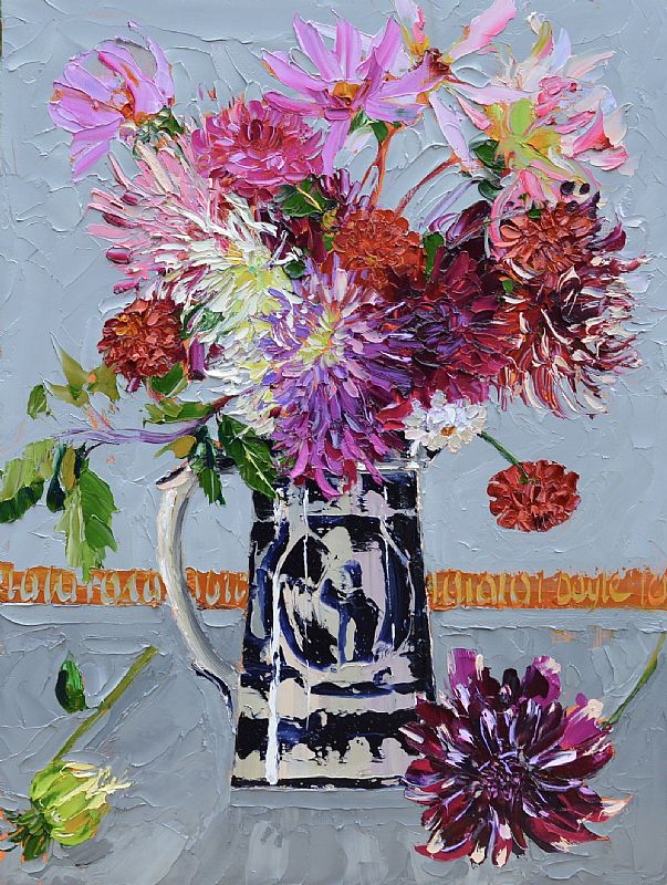 View Dahlias on grey