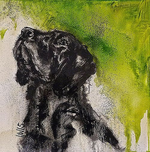 Black Dog With Green