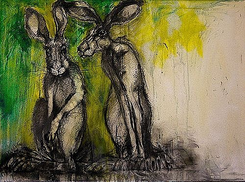 Two Hares With Green