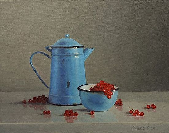 Blue Enamelware with Redcurrants