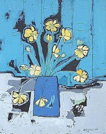 Buttercups in a blue pot