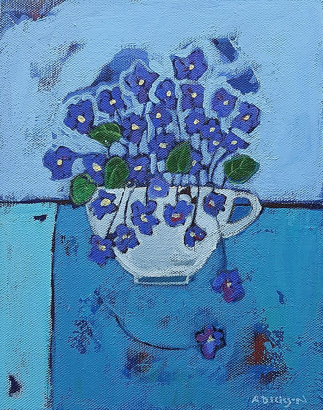 Alison  Dickson - Violets in a teacup