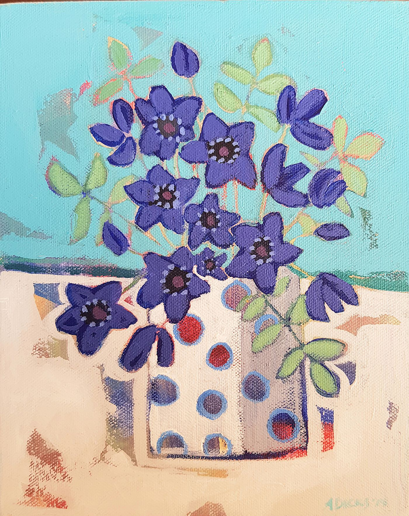 Alison  Dickson - Anemones in a spotty pot