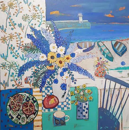 Alison  Dickson - Pomegranates and summer flowers