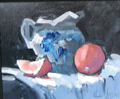 Still life with orange and china jug by  Unknown