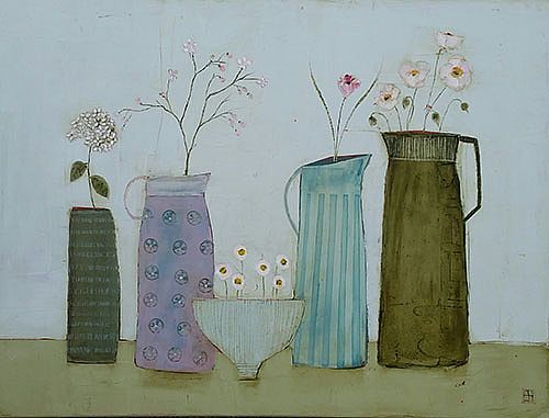 Eithne  Roberts - 3 flower jugs vase and daisy bowl