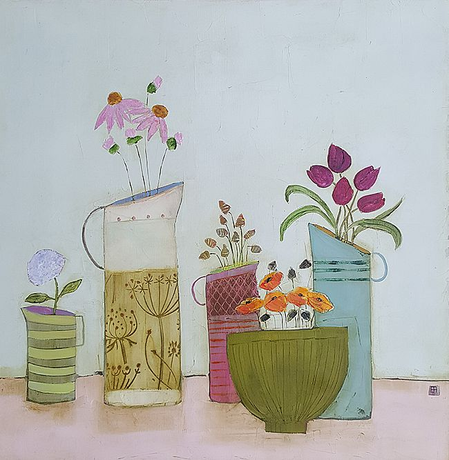 Eithne  Roberts - 4 jugs and little green bowl