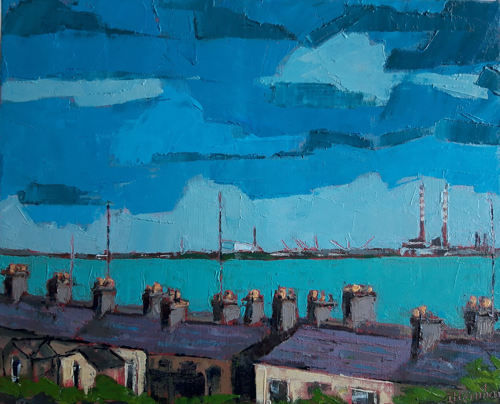 Isobel  Henihan - Sandymount over Monkstown rooftops