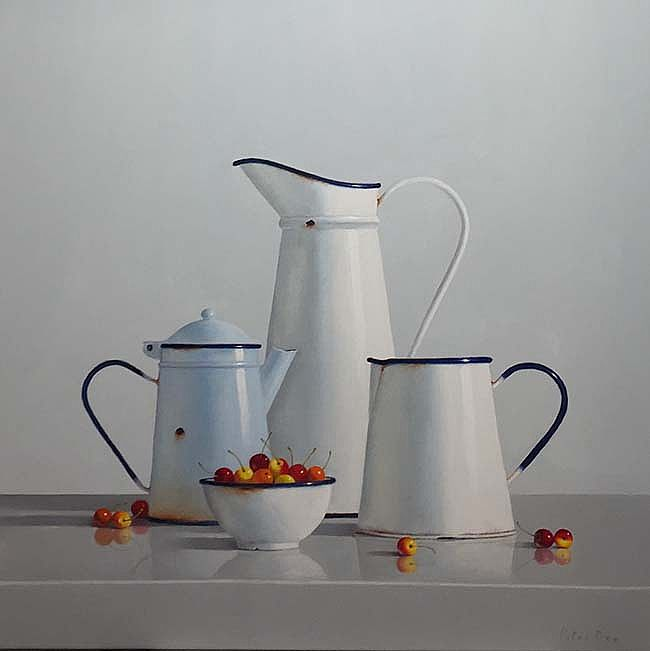Three Jugs and a bowl of cherries