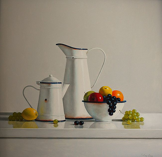 Vintage Enamelware with Fruit Still Life
