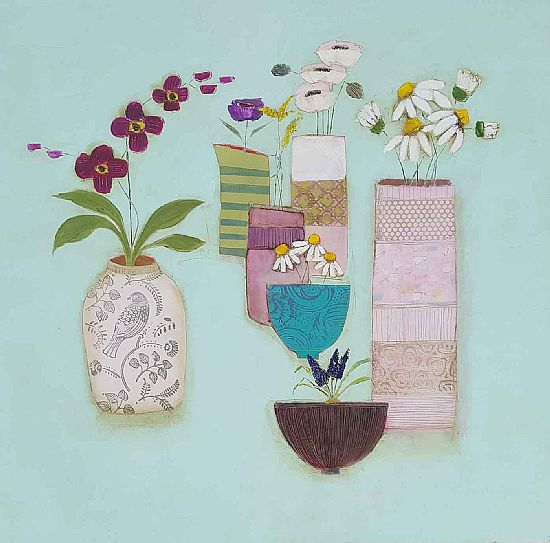 Eithne  Roberts - Big blue table with bird pot