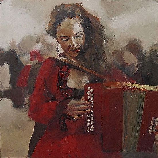 View Girl in red dress playing the box