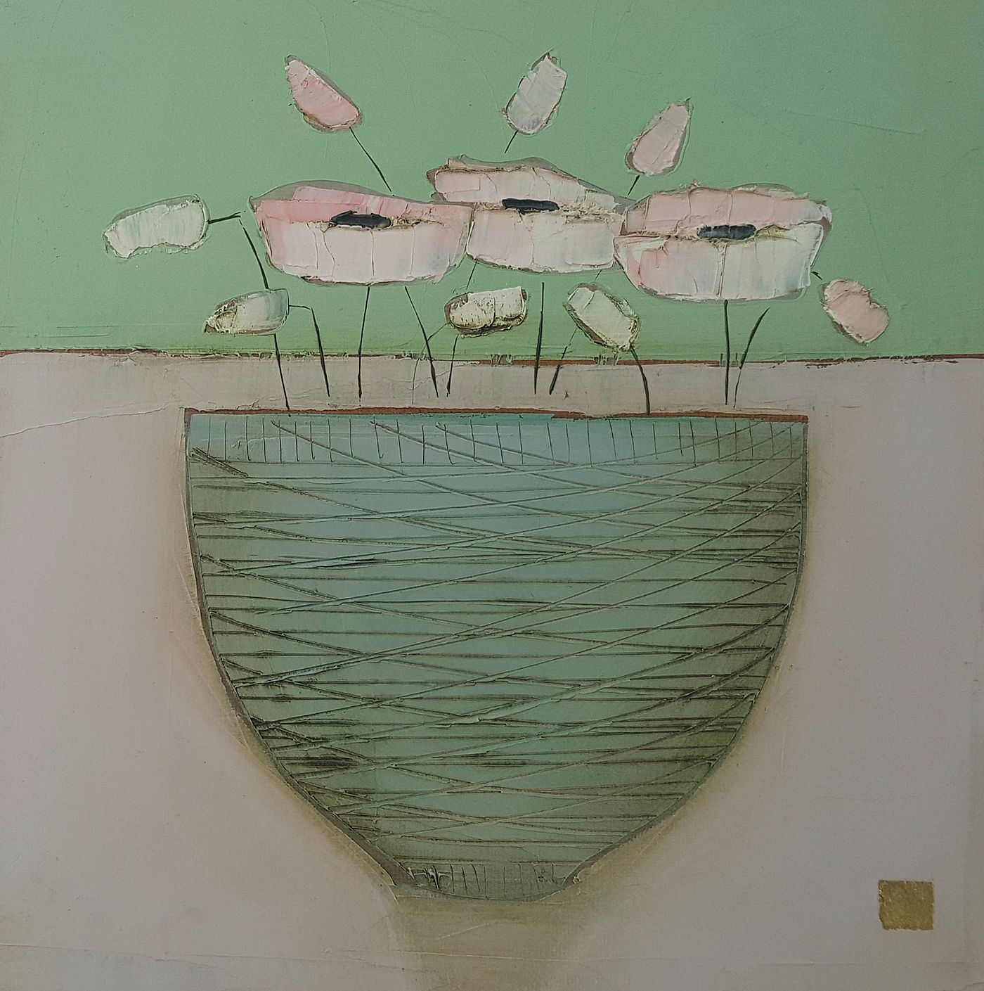 Eithne  Roberts - Grey bowl on pink