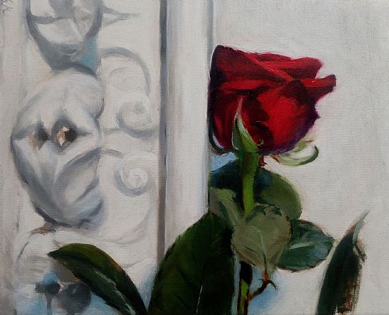 View Red rose on antique Carrera marble altar piece