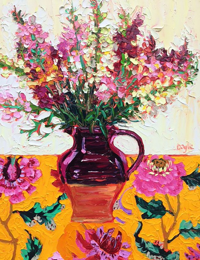 Lucy Doyle - Flowers on yellow chintz