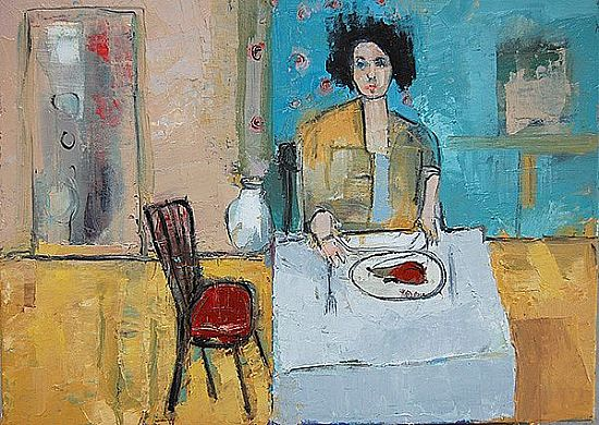 View Woman with her lunch