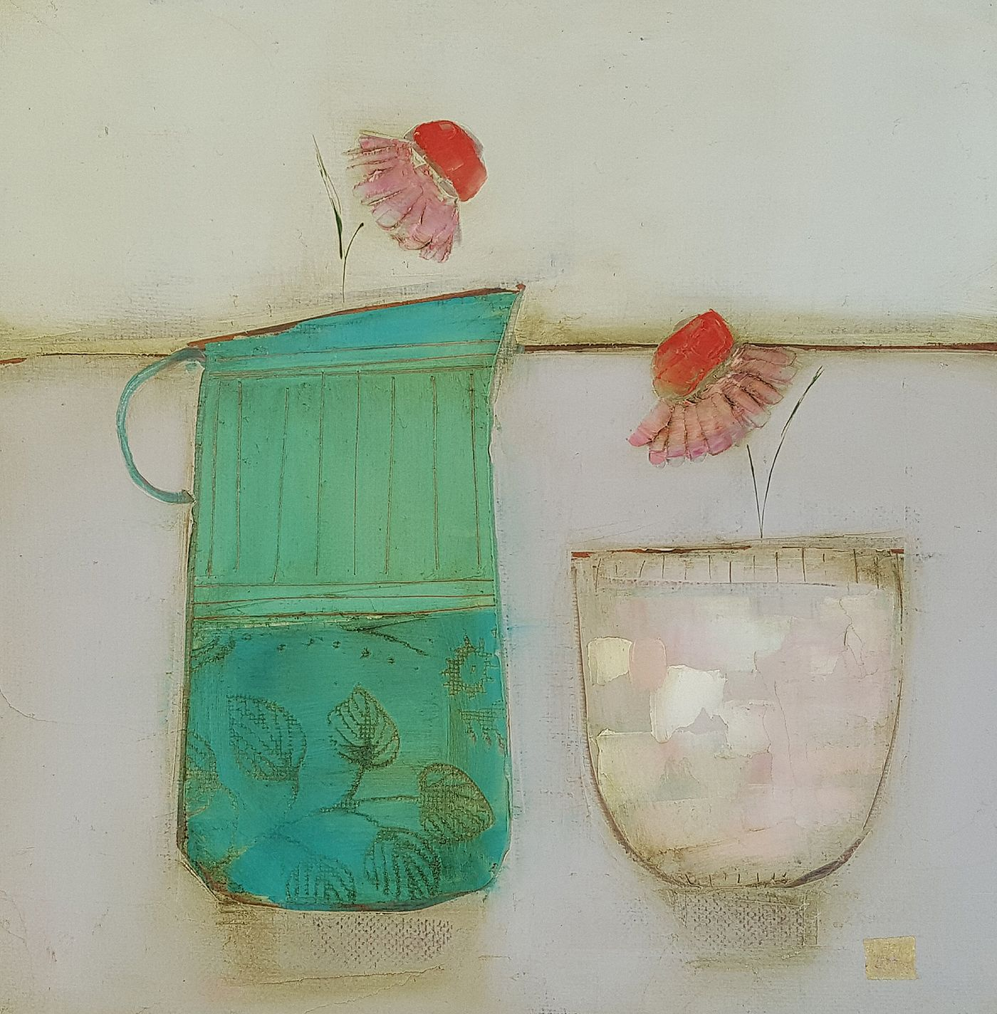 Eithne  Roberts - Little pot and turquoise jug
