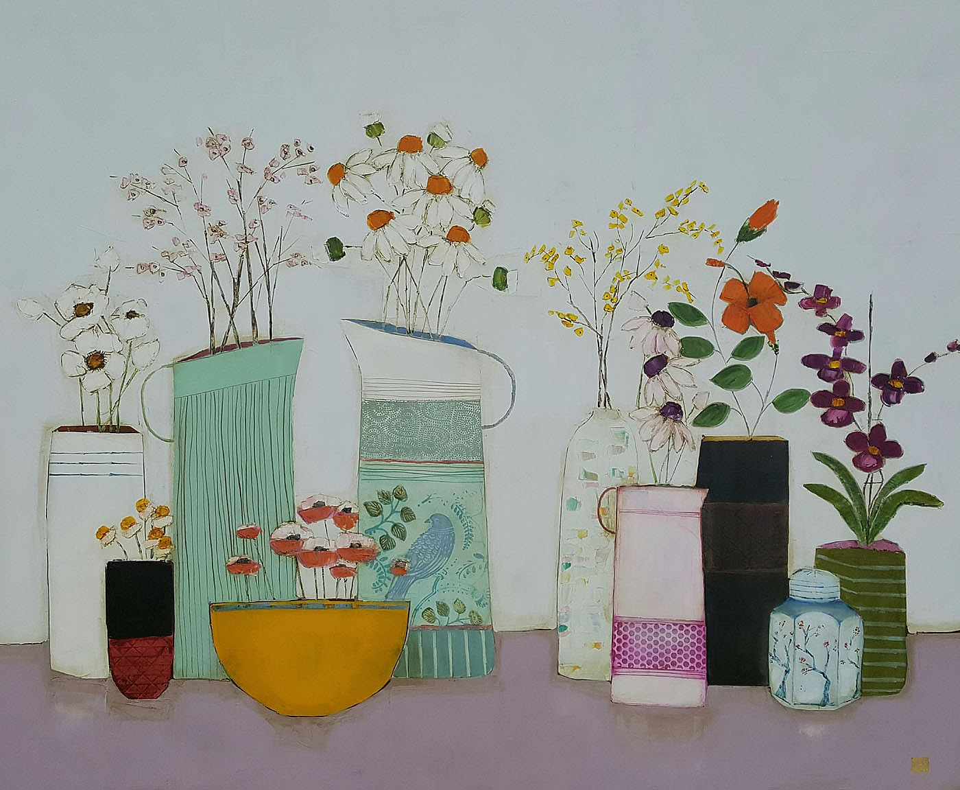 Eithne  Roberts - Mustard bowl and flower jugs