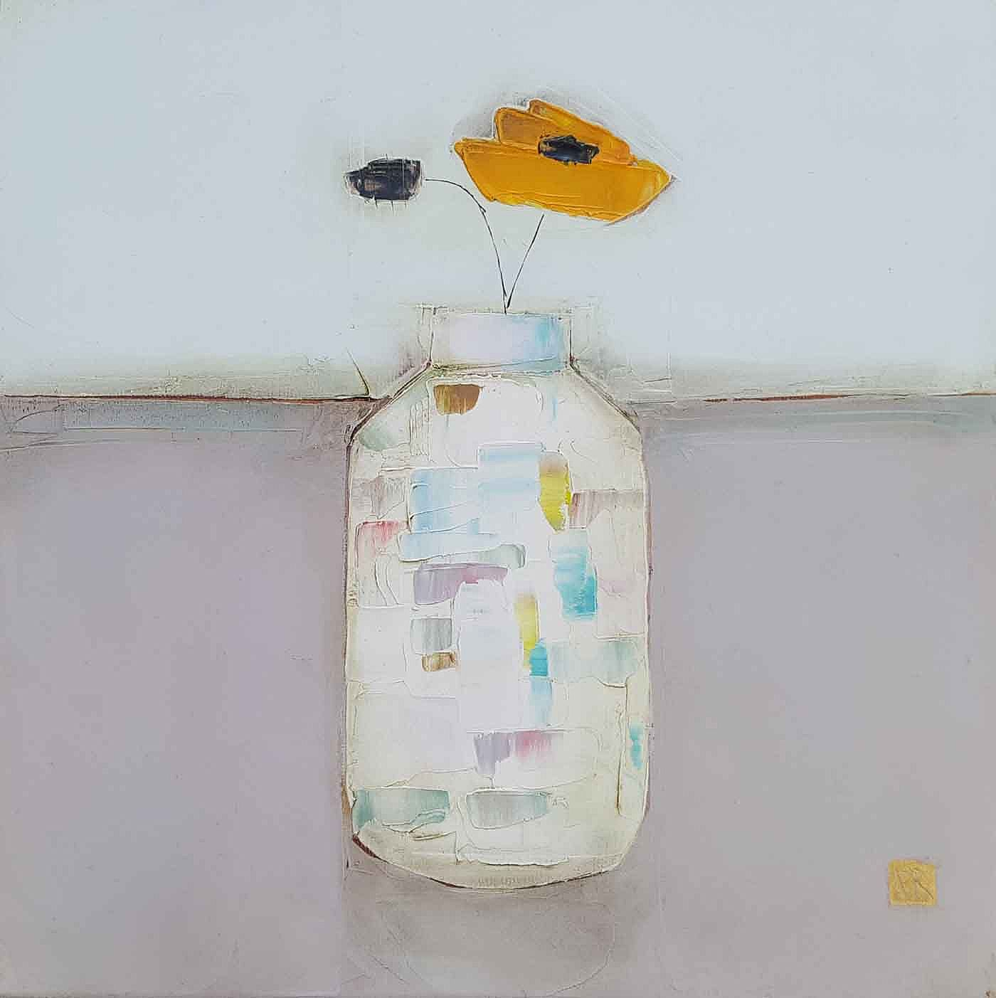 Eithne  Roberts - Orange flower white bottle