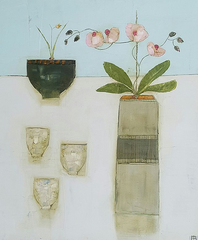 Eithne  Roberts - Orchid vase and three tea bowls