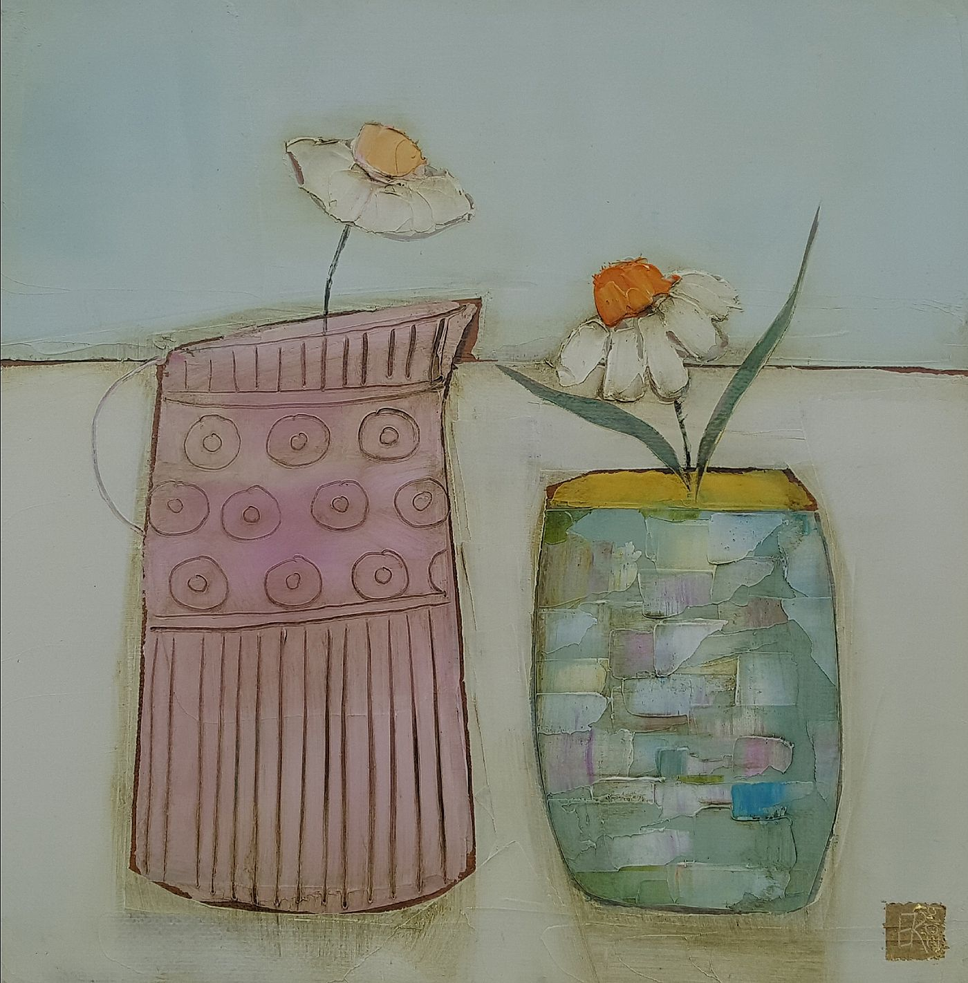 Eithne  Roberts - Pink jug and daisy pot