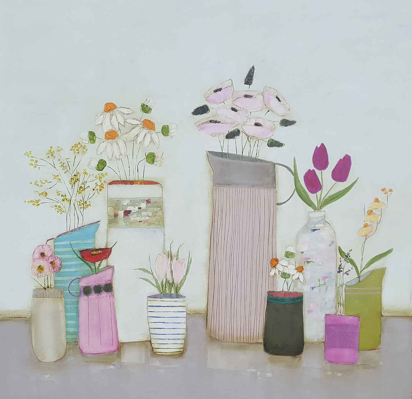 Eithne  Roberts - Pinks and daisy shelf
