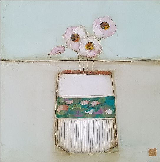 Eithne  Roberts - Pinks in white pot