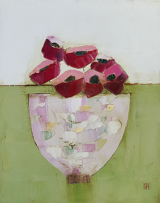Eithne  Roberts - Pinks on green