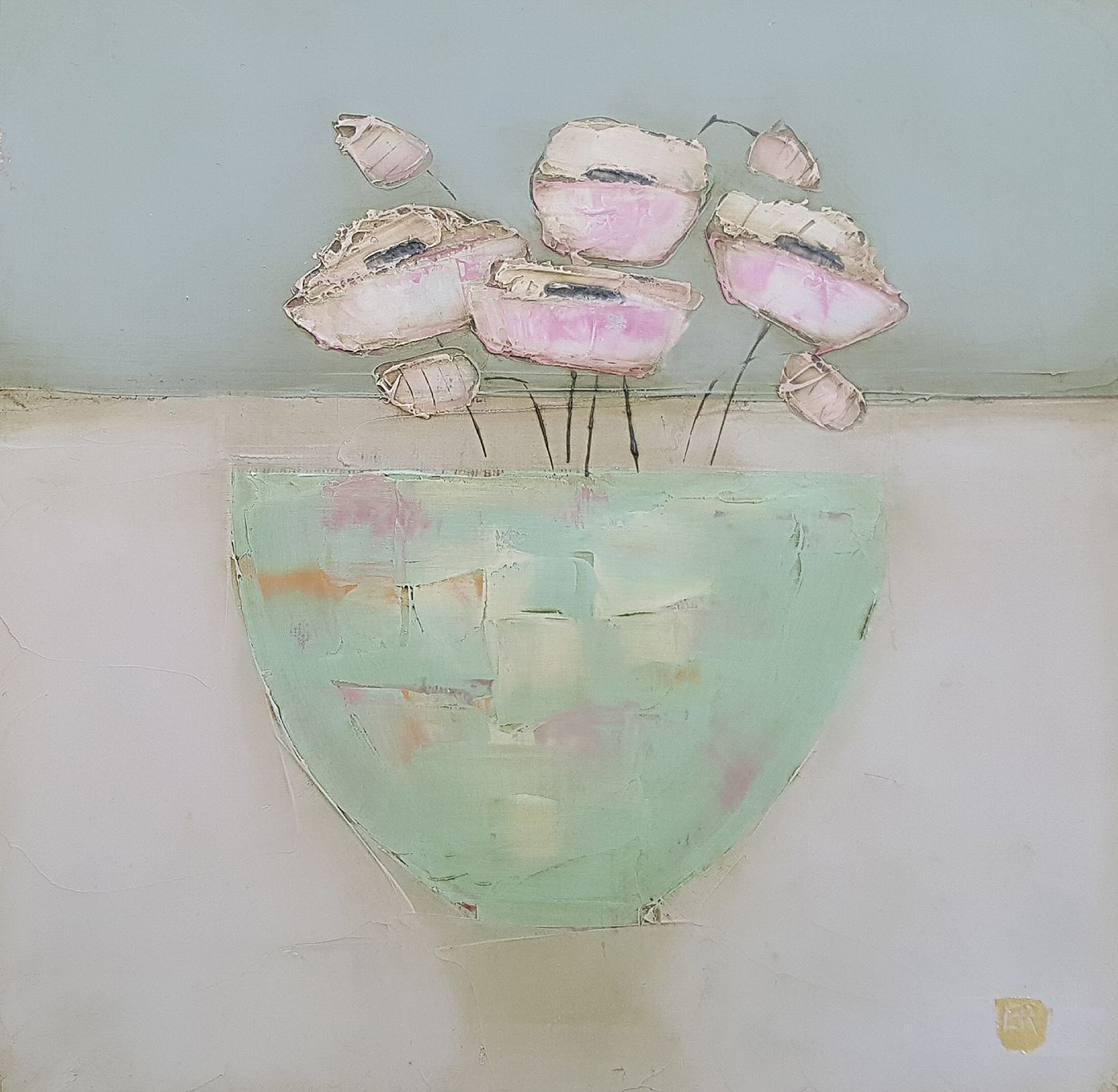 Eithne  Roberts - Pinks on grey