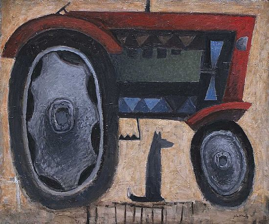 John  McNulty - Red tractor with dog