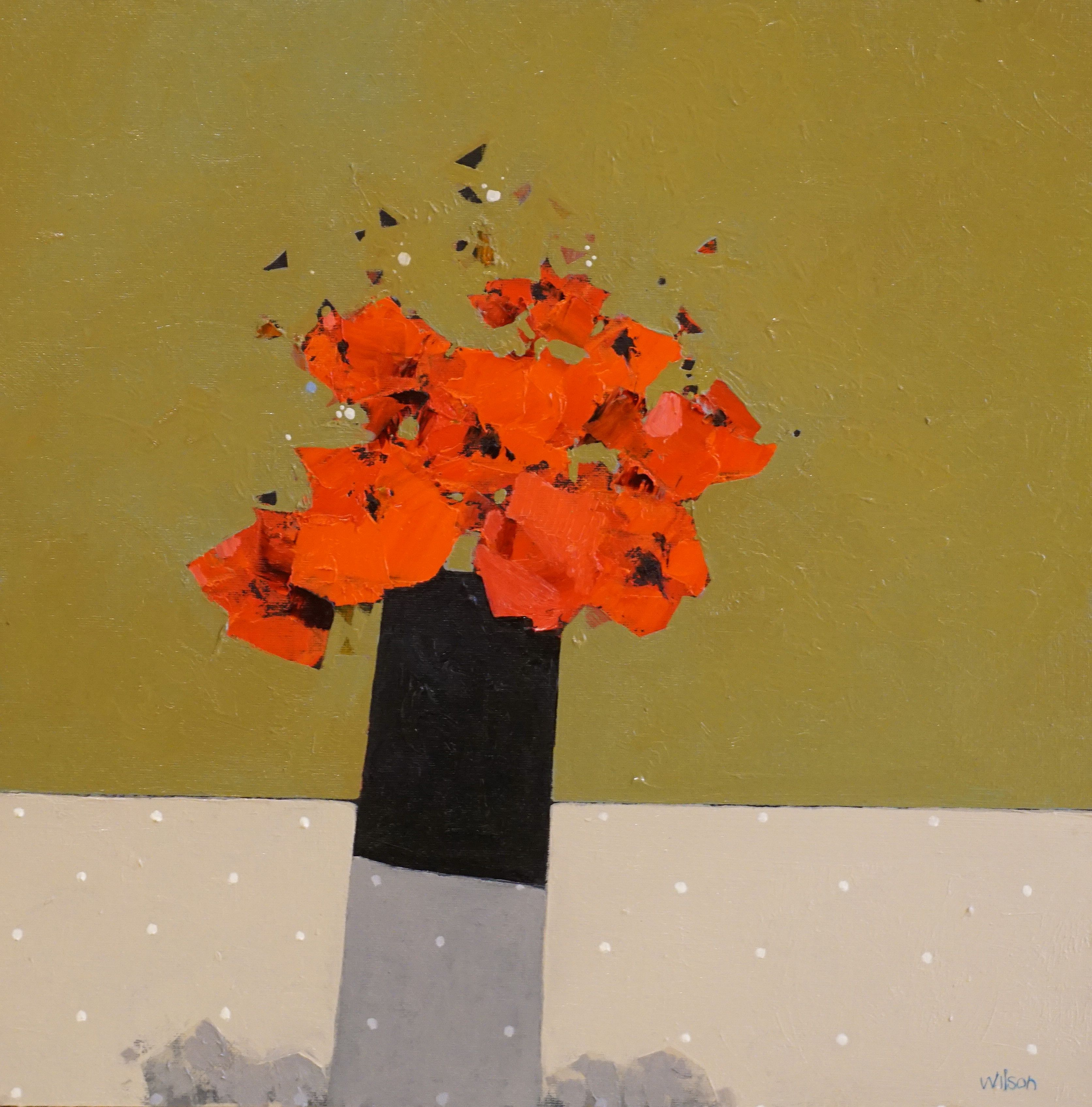 Gordon  Wilson - Small Dark Vase Of Poppies II