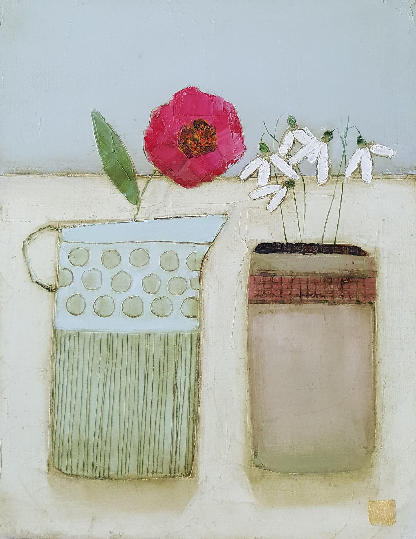 Eithne  Roberts - Snowdrops and wild pink