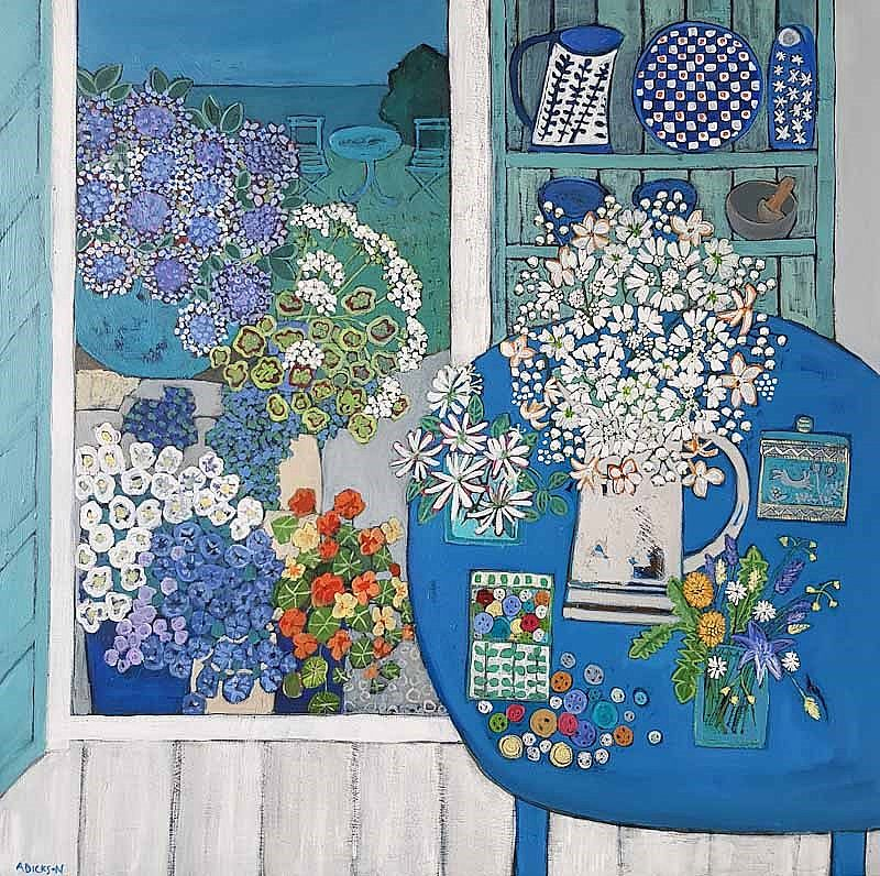 Alison  Dickson - The button box and summer flowers