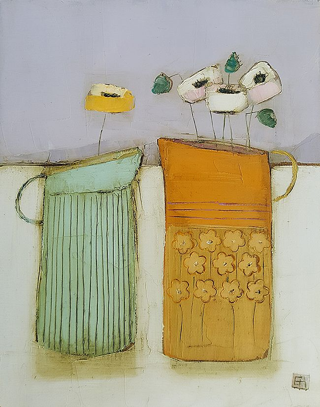 Eithne  Roberts - Tiny blue and orange jugs