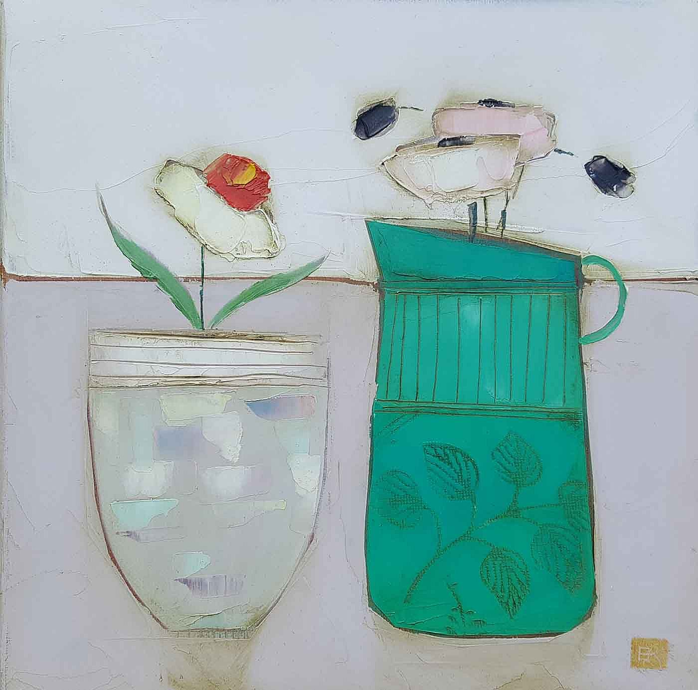 Eithne  Roberts - White pot turquoise jug