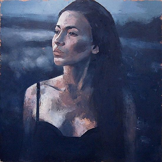 View Woman at sunset in blue