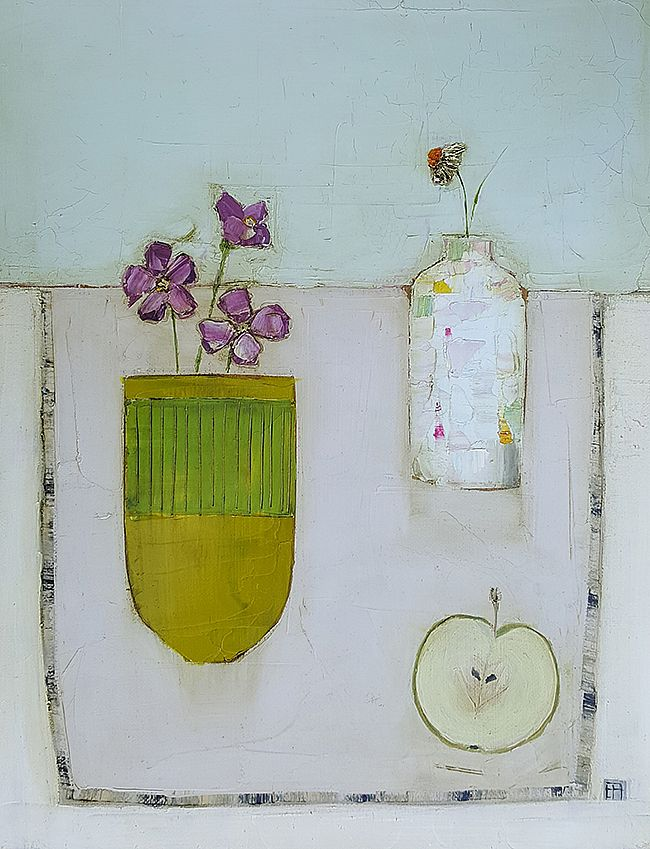 Apple, green vase and little bottle