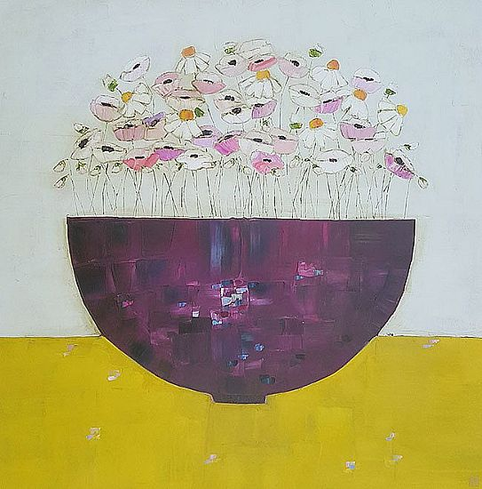 Eithne  Roberts - Big purple bowl on mustard