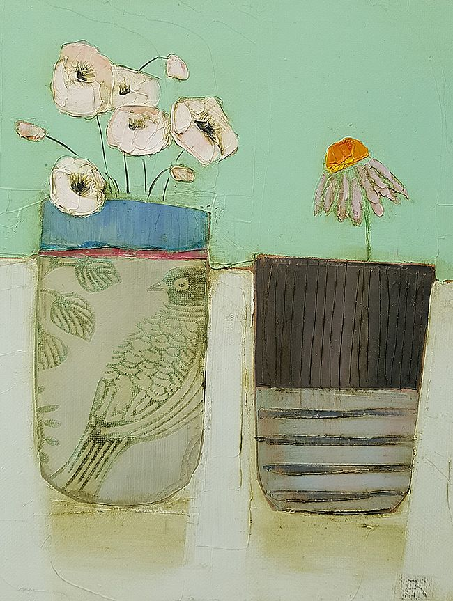 Eithne  Roberts - Bird vase and stripey pot