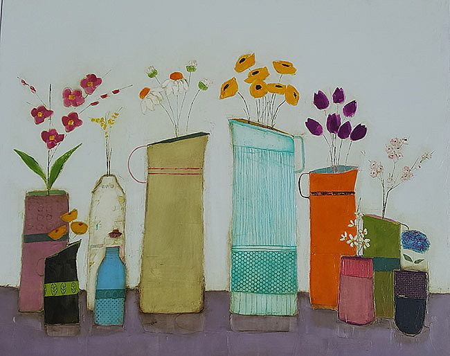 Eithne  Roberts - Blue and orange jugs with spring blooms