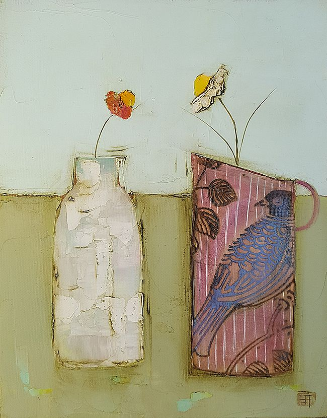 Eithne  Roberts - Blue bird and little bottle