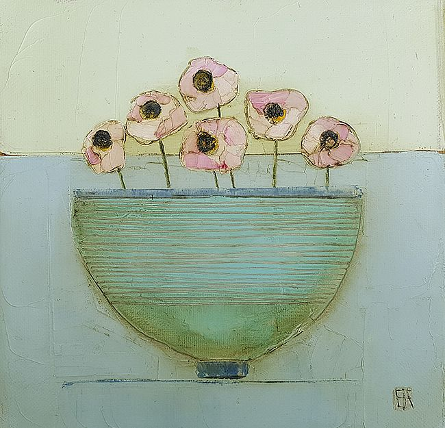 Eithne  Roberts - Blue bowl, pink blooms