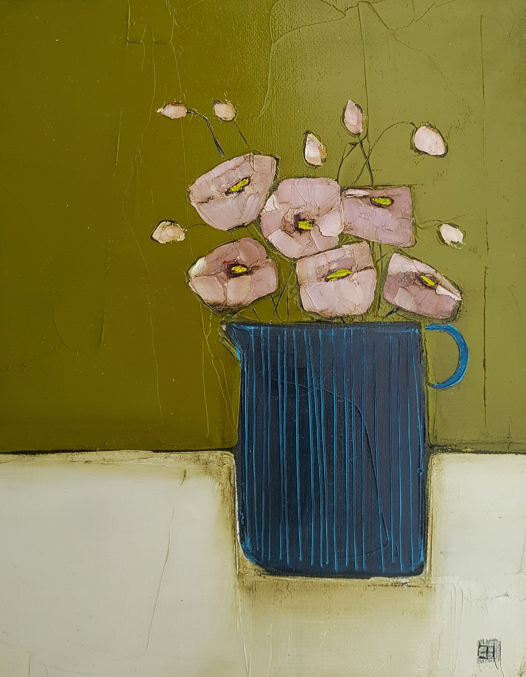 Eithne  Roberts - Blue jug on green