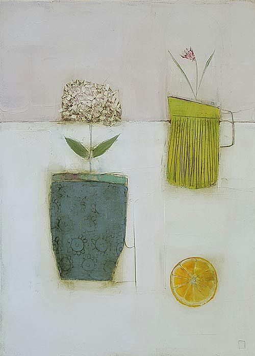 Eithne  Roberts - Blue pot yellow jug and orange