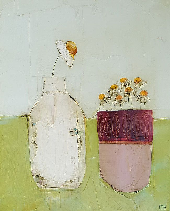 Eithne  Roberts - Bottle and vessel on green