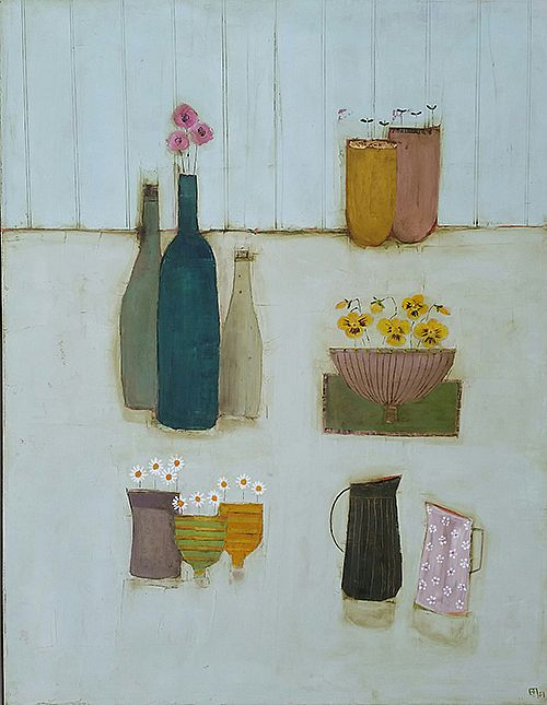 Eithne  Roberts - Bottles daisy jug and yellow pansies