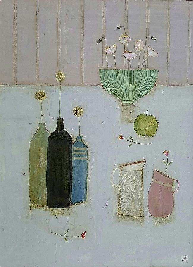 Eithne  Roberts - Bowl, bottles, jugs and apple
