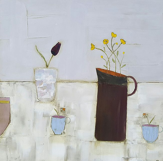 Eithne  Roberts - Buttercups and blue daisy cups
