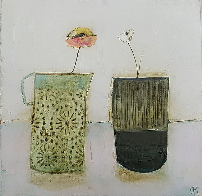 Eithne  Roberts - China jug, stripey vase